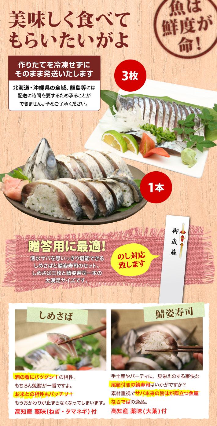 清水サバの姿寿司1本としめさば3枚の大満足ギフトセット。